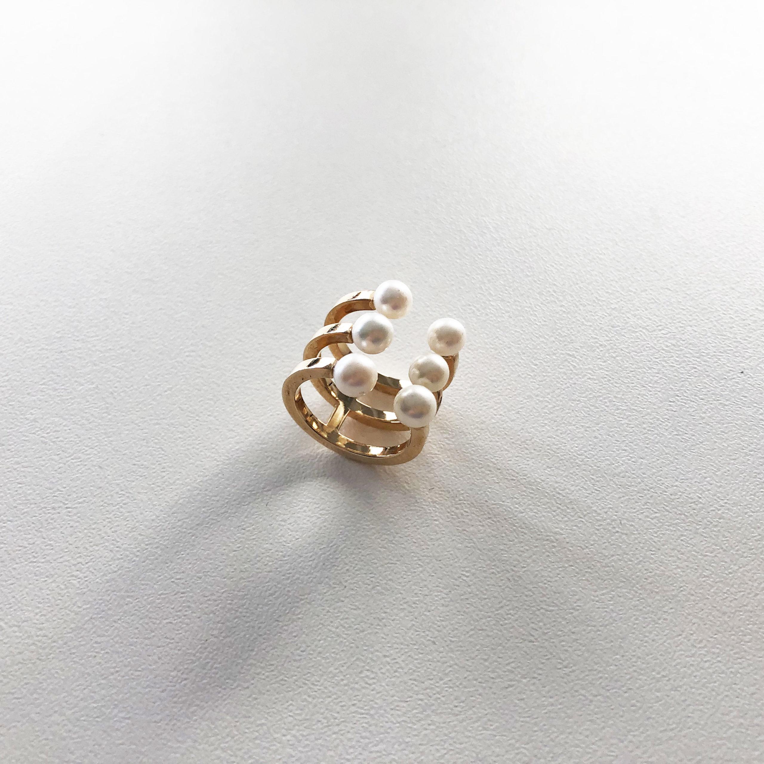 KristinaC - Anello da mignolo 6 perle
