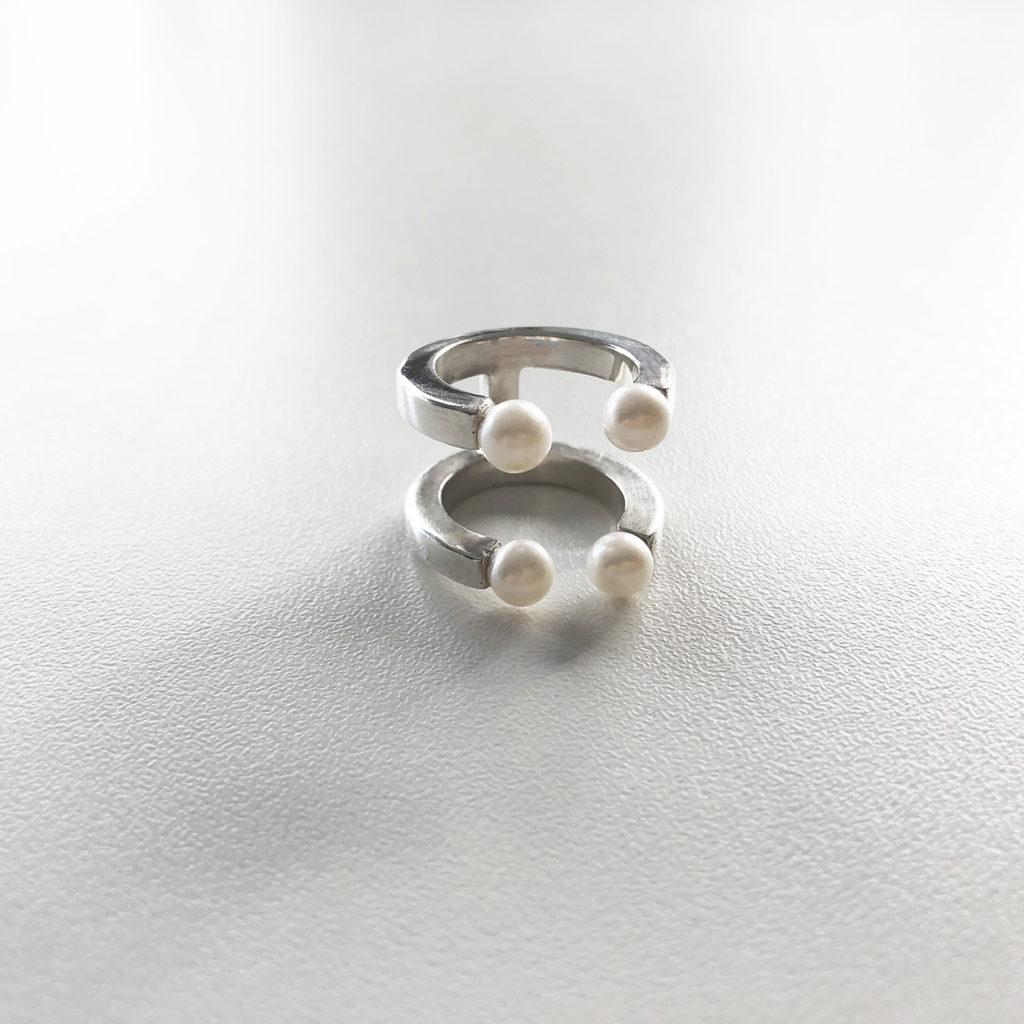 KristinaC - Anello aperto argento 4 perle