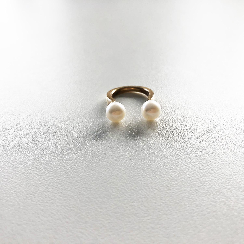 KristinaC - Anello aperto argento oro 2 perle